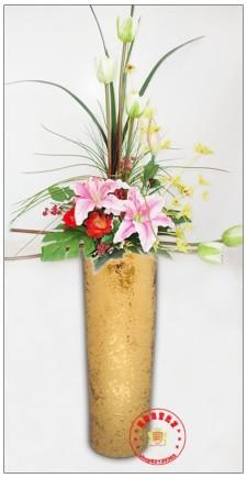 花瓶/欧式田园家居装饰/高档镀金/仿真花艺术插花