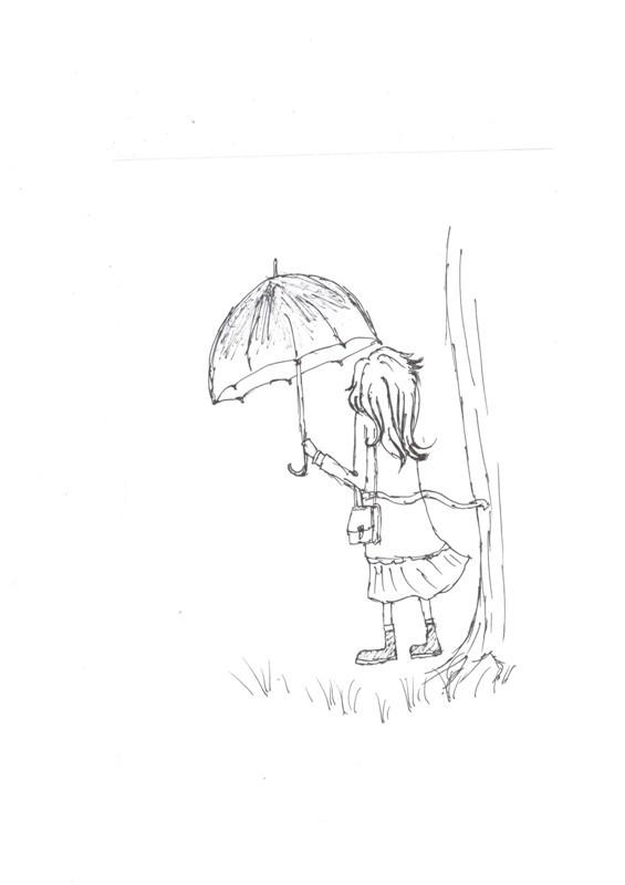 打伞的小女孩