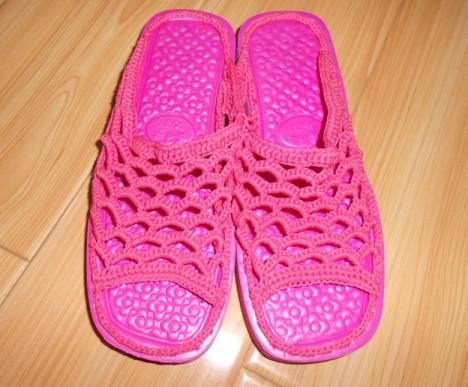 毛线手工织拖鞋搭配图片