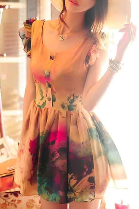 文艺复兴!水粉艺术花纹木耳边背心蓬蓬连衣裙