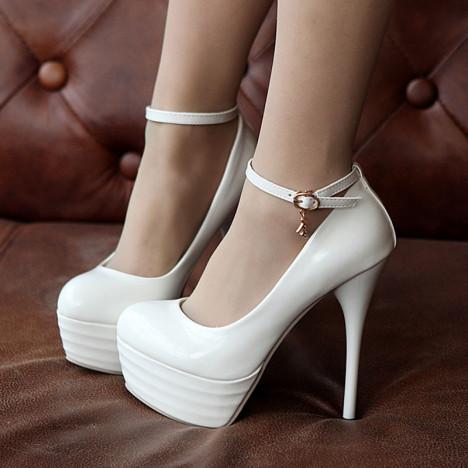 尚夜店防水台超高跟鞋2014春季新款细跟单鞋13cm白色浅口女鞋子