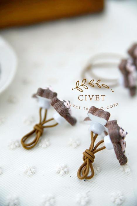 civet发饰头饰新品韩版可爱的小熊儿童发绳头绳