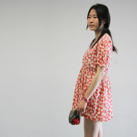 棉绸裙子短袖连衣裙 泡泡袖宽松圆领