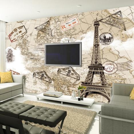 客厅沙发墙纸壁画搭配图片