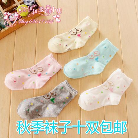 外贸全棉学生袜女生花边短袜彩色袜子纯棉圆点兔兔