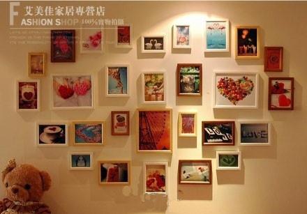 创意心形照片墙 实木相框28框