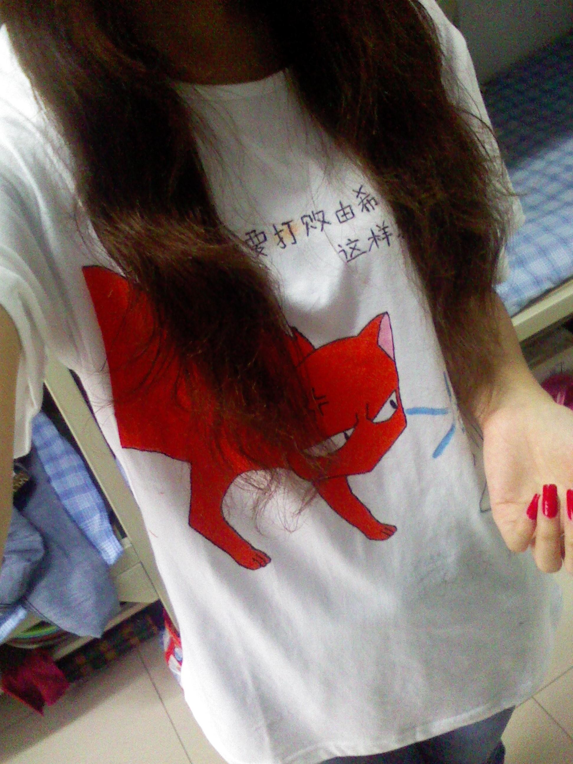 手绘情侣t恤 - 蘑菇街