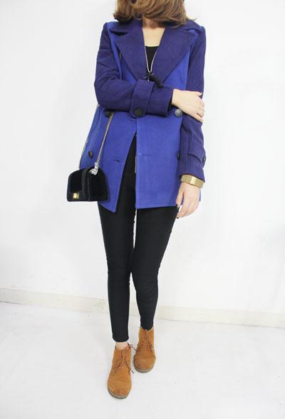 【韩版显瘦宝蓝色呢子大衣外套】-无类目--zland蓝的