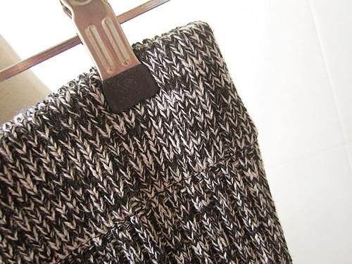 侧边开叉杂色毛线半身裙