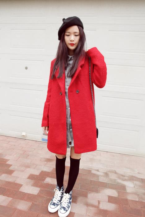 我的冬季复古小搭配~画家帽+呢子内搭衬衫+暗红色