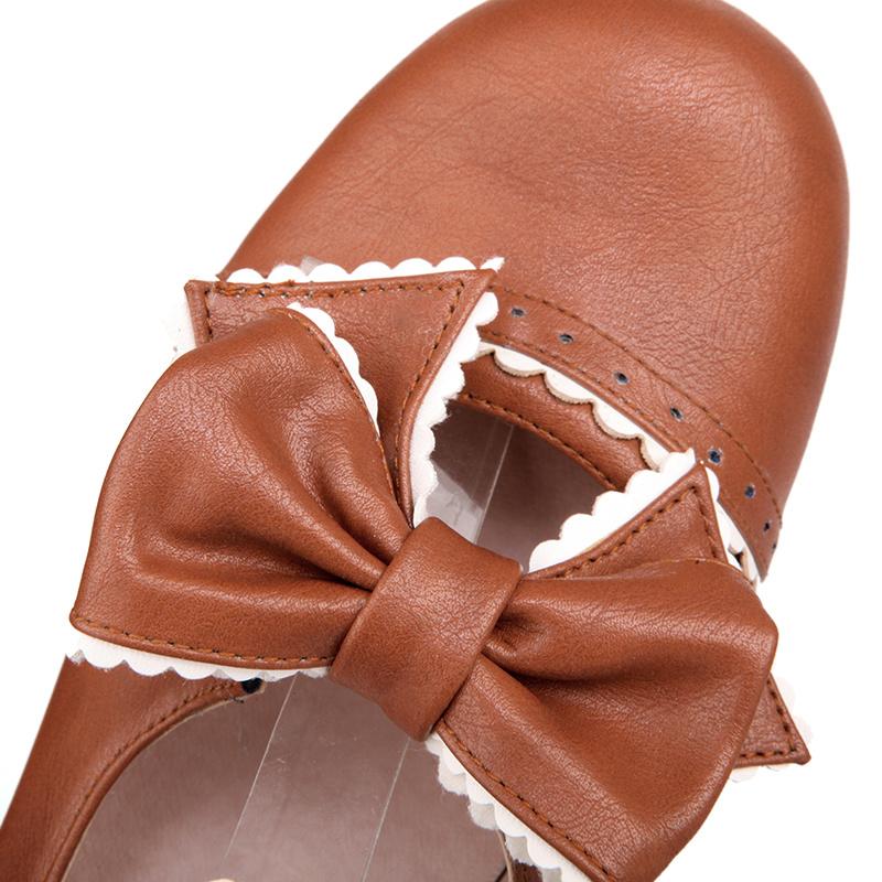【动漫风糖果pu花边蝴蝶结粗跟鞋】-鞋子-末妃妃糖鞋