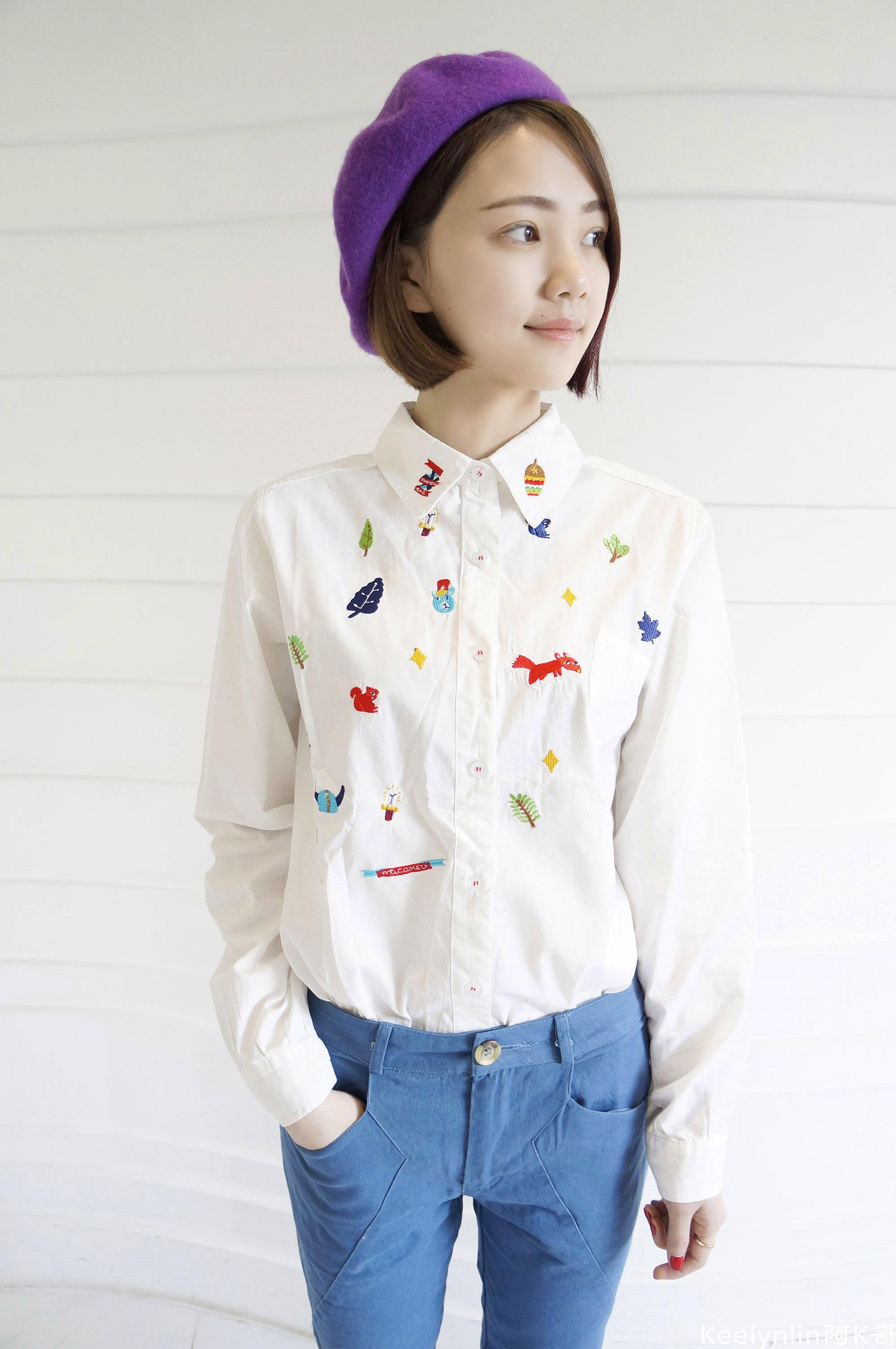 森林系卡通小动物刺绣衬衫搭配棉质