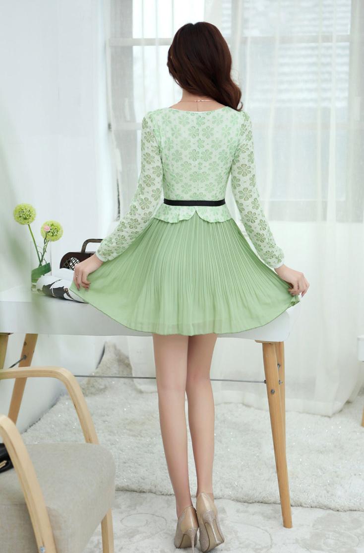 【蕾丝雪纺长袖连衣裙】-衣服--小鹿美衣-蘑菇街优店
