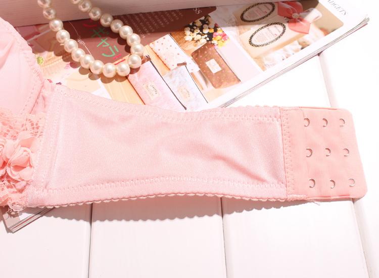 【玫瑰花朵蕾丝雪纺文胸套装】-内衣--艾妮内衣-蘑菇