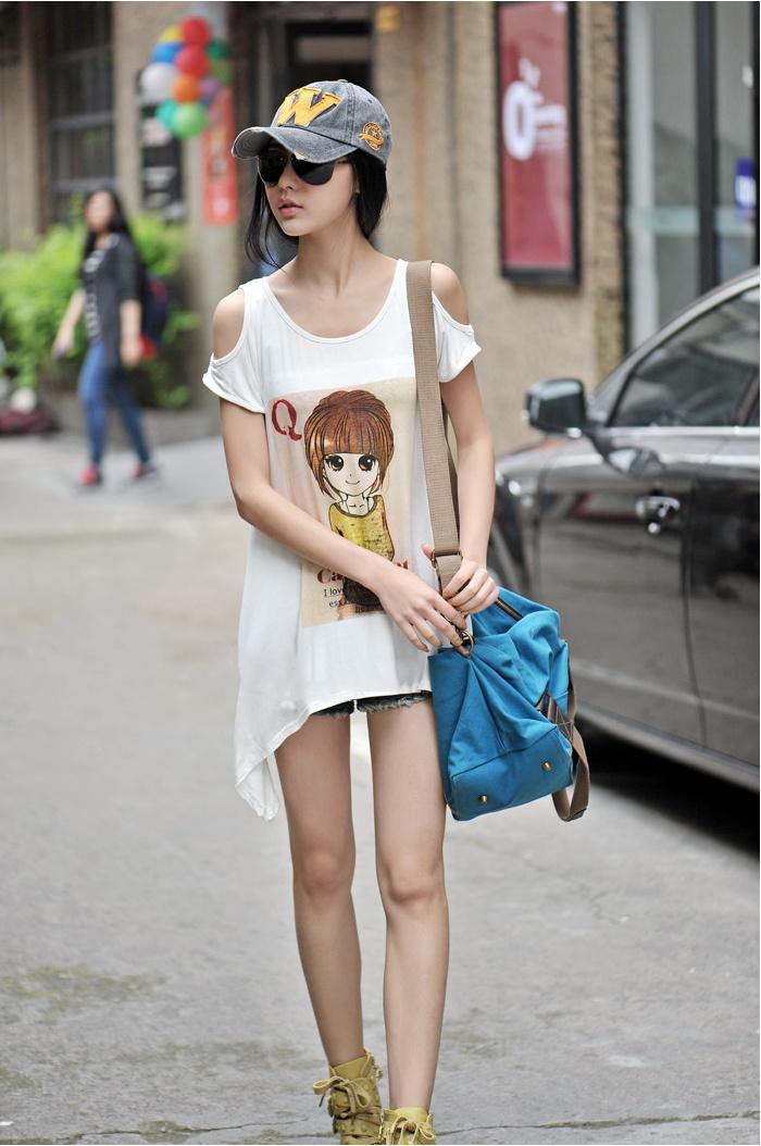 超萌qq女孩头像不规则长t恤