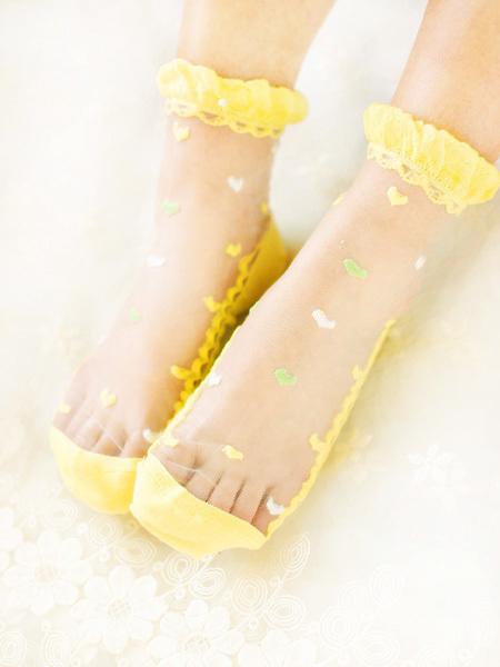 水晶玻璃丝爱心织花丝袜