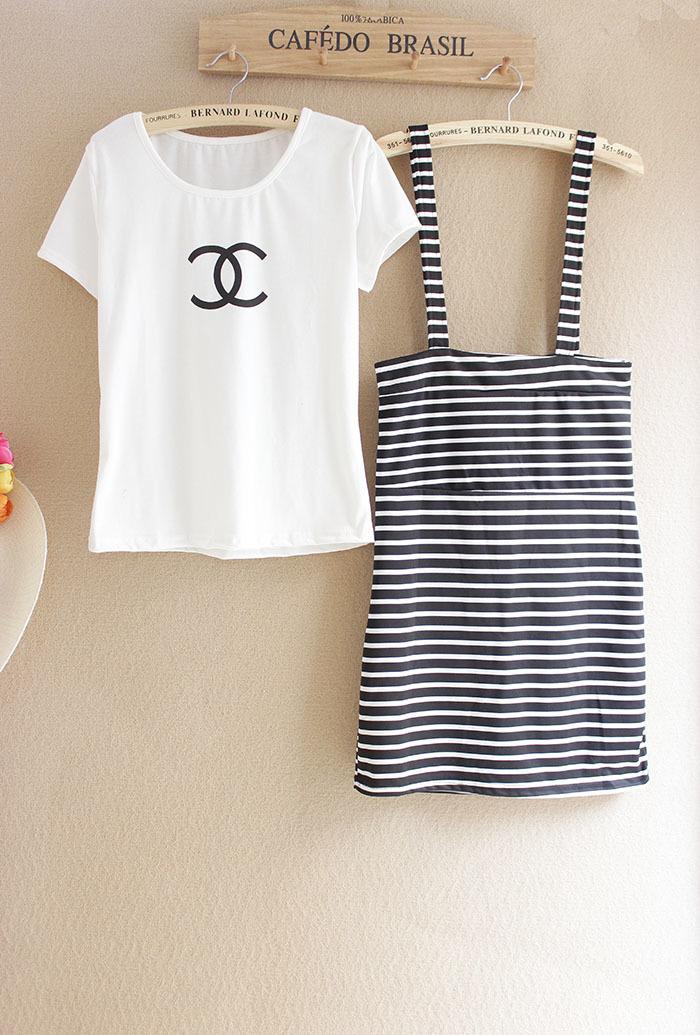 【t恤吊带连衣裙两件套】-衣服-时尚套装_上装_女装