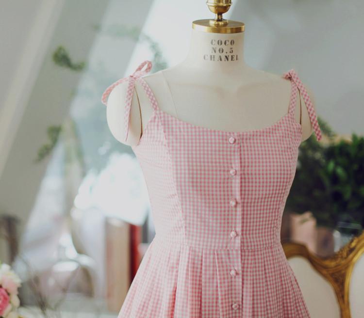 小香风格子吊带连衣裙