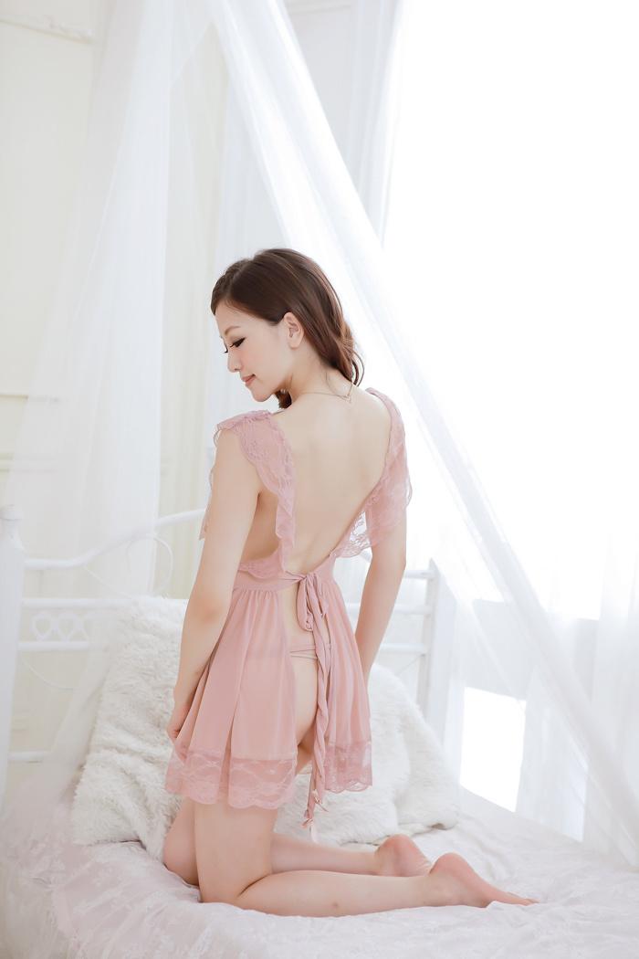 【蕾丝花边网纱肚兜式睡裙】-内衣-睡裙