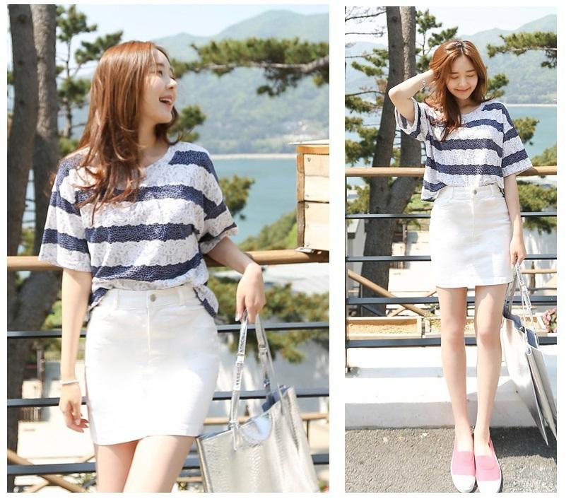 【白色牛仔弹力包裙】-衣服-半身裙