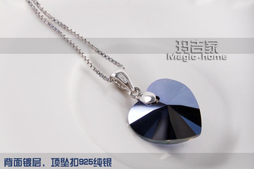 纯银  链子样式:盒子链  坠子材质:swarovski水晶  形状/图案:爱心