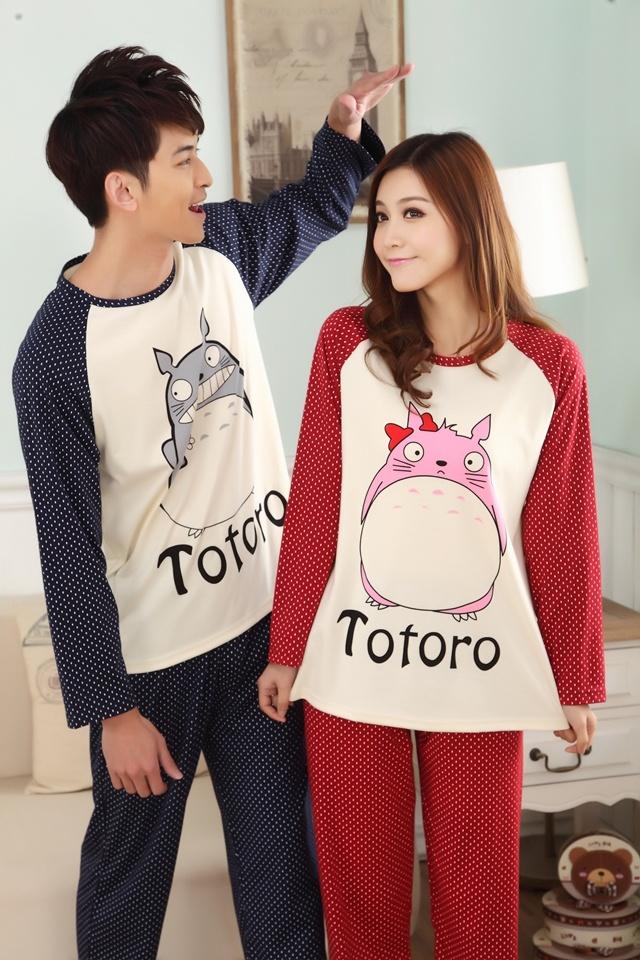 可爱龙猫情侣装睡衣两件套
