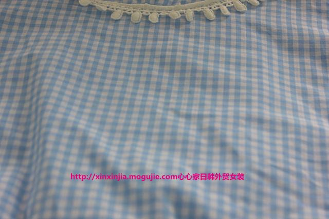 【秋季新款小清新花边格子衬衫】-衣服-衬衫