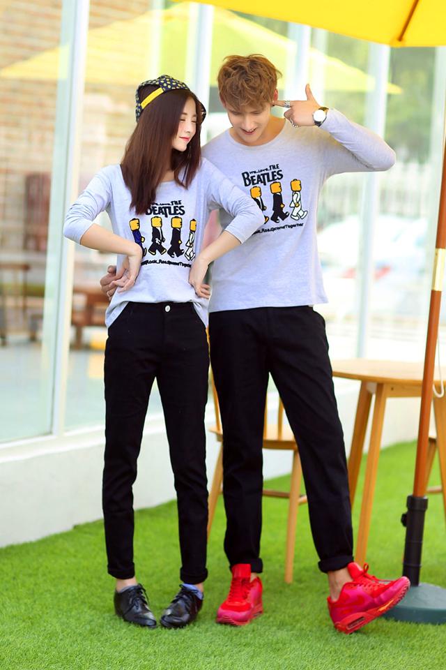 可爱小人情侣t恤-来自蘑菇街优店