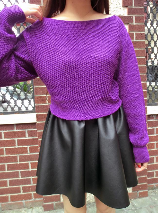 怎么搭配紫色毛线连衣裙