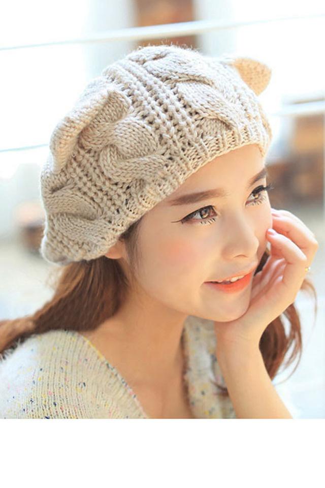 韩版可爱猫耳朵毛线帽