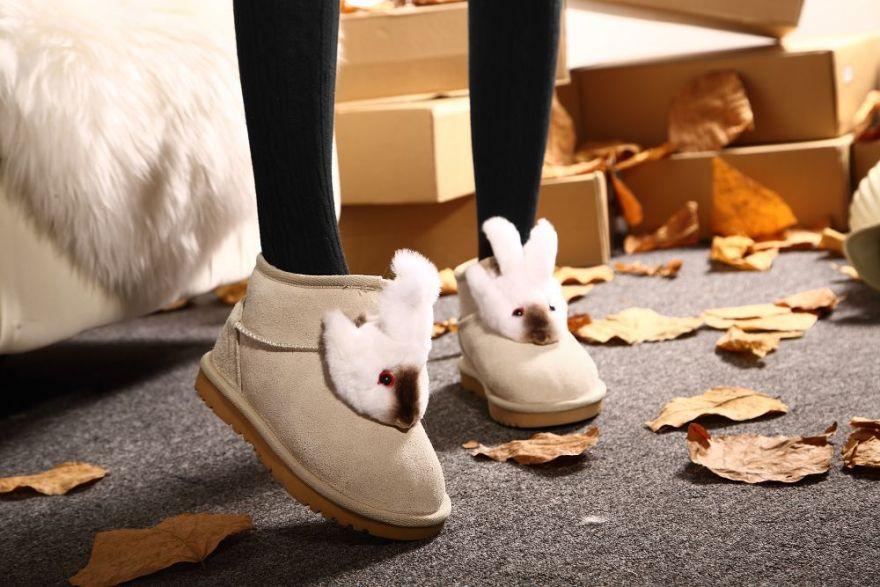 超萌可爱小兔子真皮雪地靴