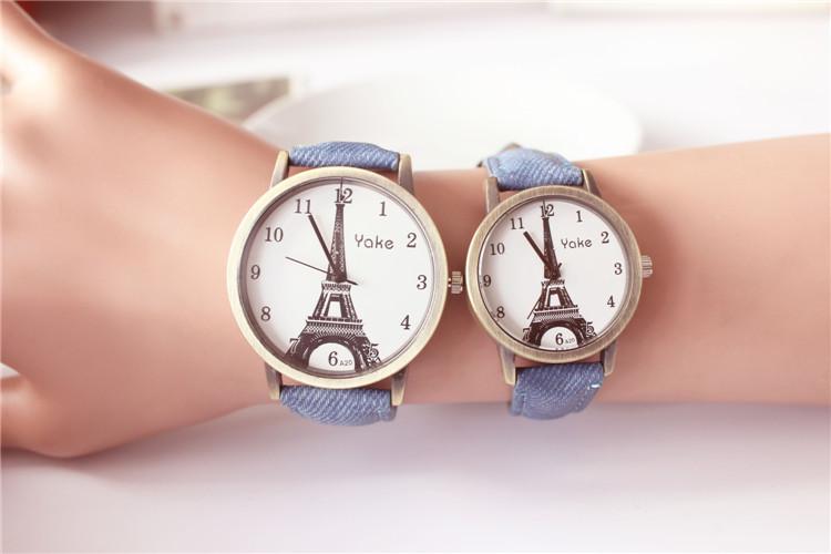 埃菲尔铁塔情侣皮带手表