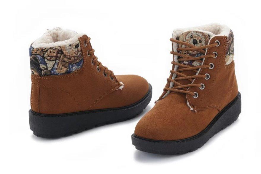 【菲林格】可爱小熊羊羔毛短靴