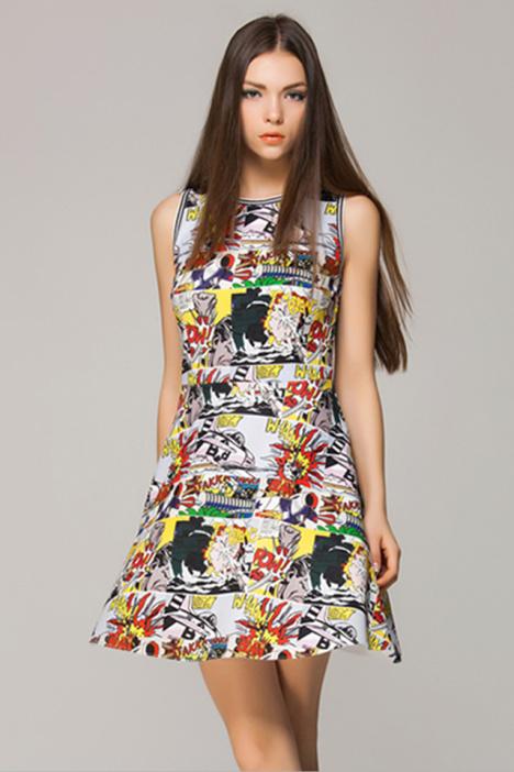 黑白印花裙半裙搭配图片