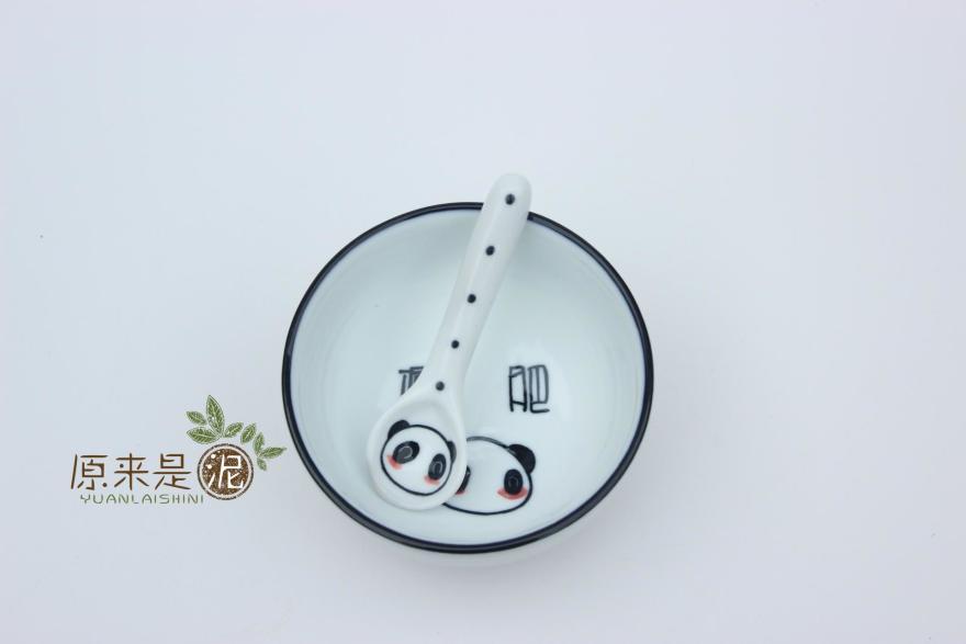 可爱手绘碗 熊猫图案减肥字 1300高温烧制 釉下彩 安全无毒可用微波炉