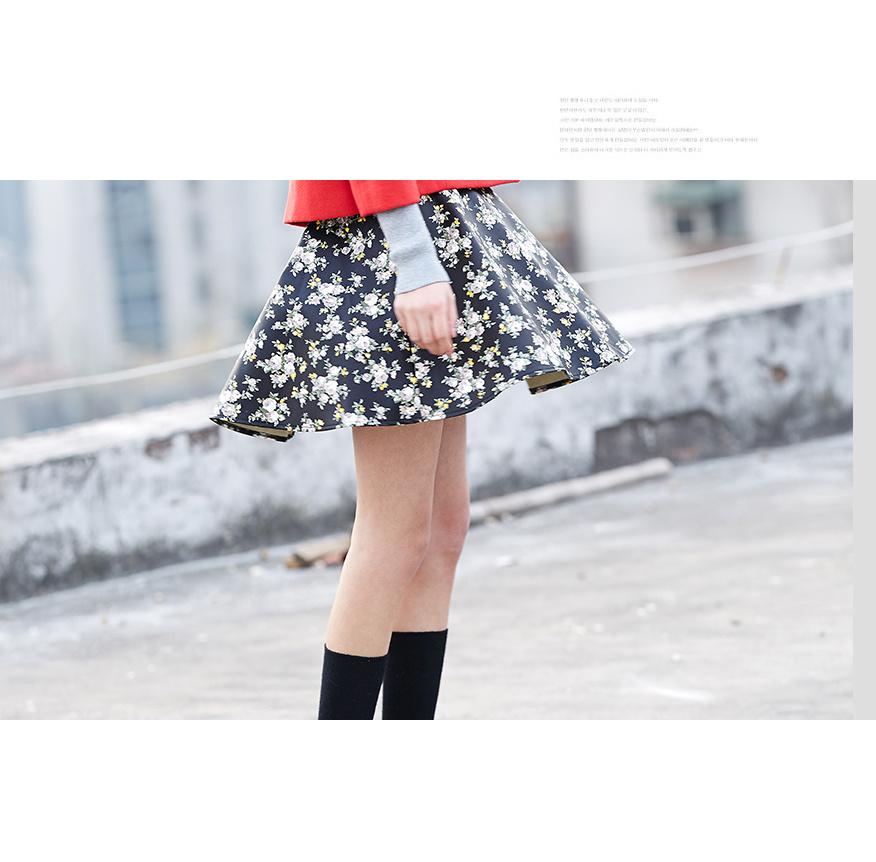 复古黑底印花皮裙-来自蘑菇街优店图片