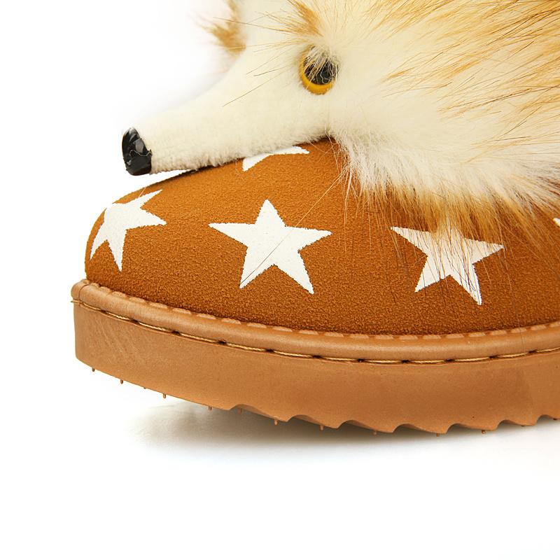 可爱狐狸头厚底雪地靴