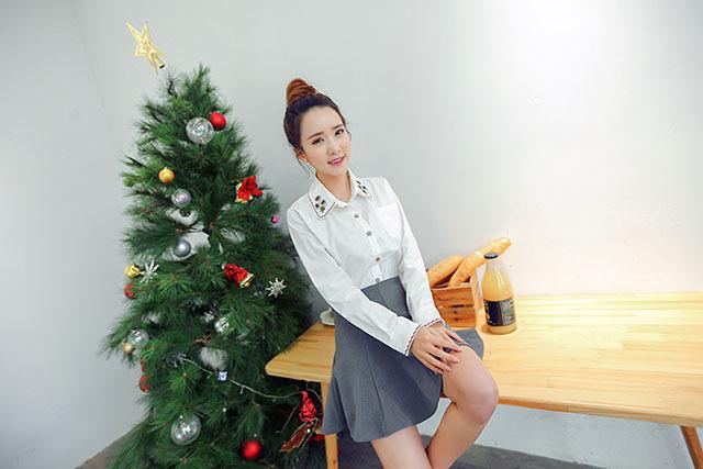 2015韩版刺绣图案小清新衬衣