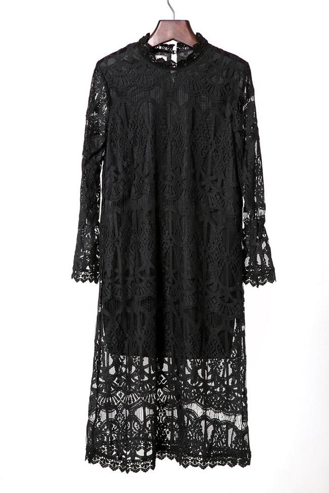 【立领花边蕾丝连衣裙】-衣服-连衣裙