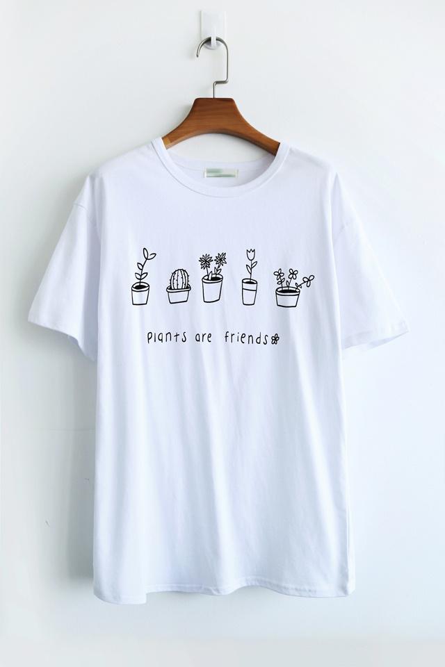 手绘花盆植物短袖t恤
