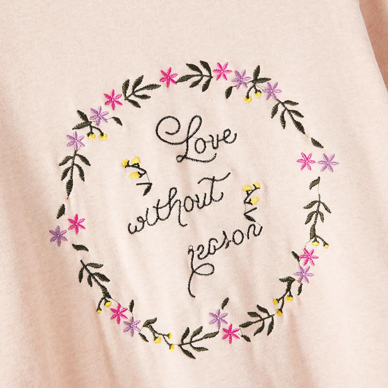 纯棉刺绣花环字母宽松短袖t恤