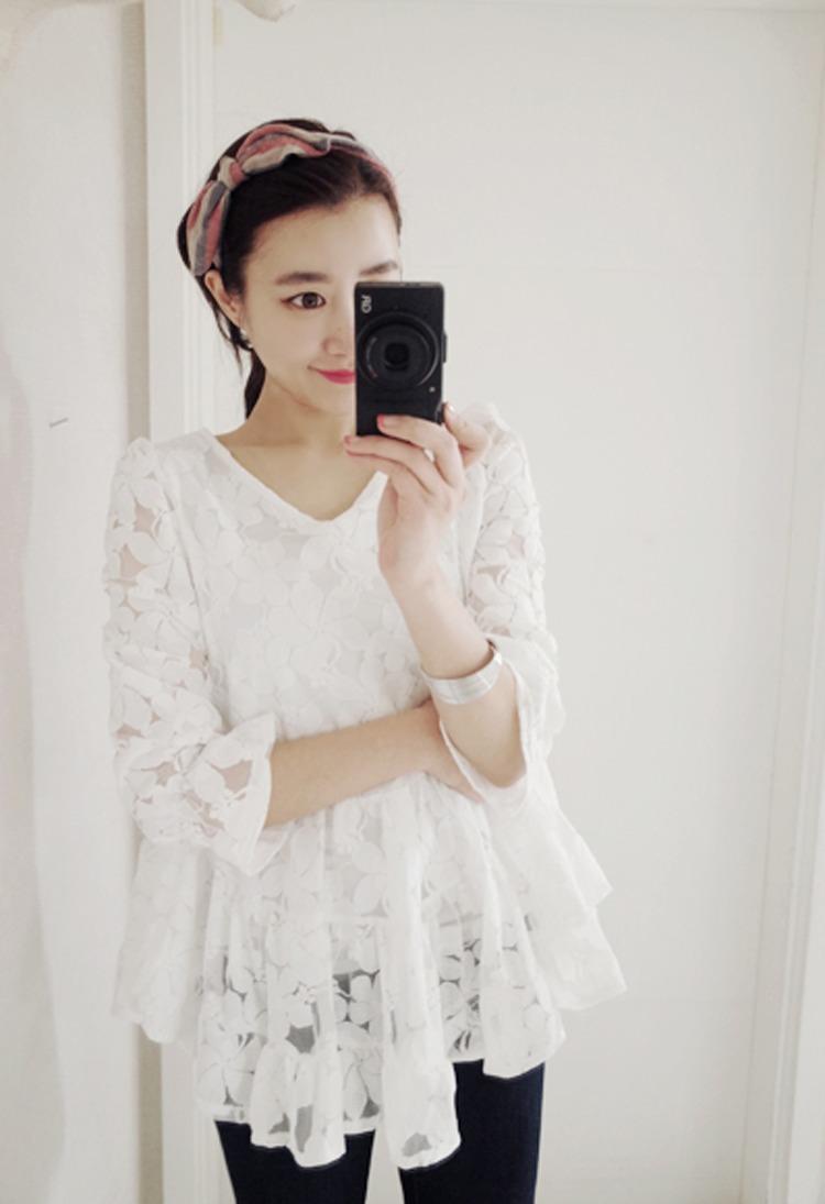 【可爱娃娃装蕾丝衫】-衣服-雪纺衫/蕾丝衫_上装_女装