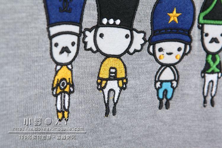 韩版百搭小士兵刺绣针织短袖t恤图片