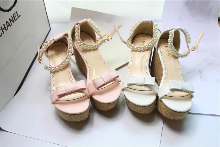 【甜美蝴蝶结串珠凉鞋】-鞋子-凉鞋