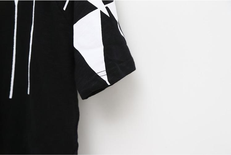 【欧美宽松不规则图案印花短袖t恤】-衣服-t恤