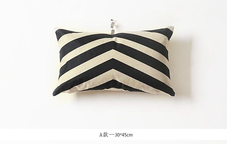 奇居良品 现代黑白条格靠垫套