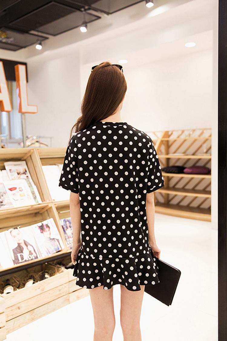 【新款波点荷叶边连衣裙】-衣服-连衣裙