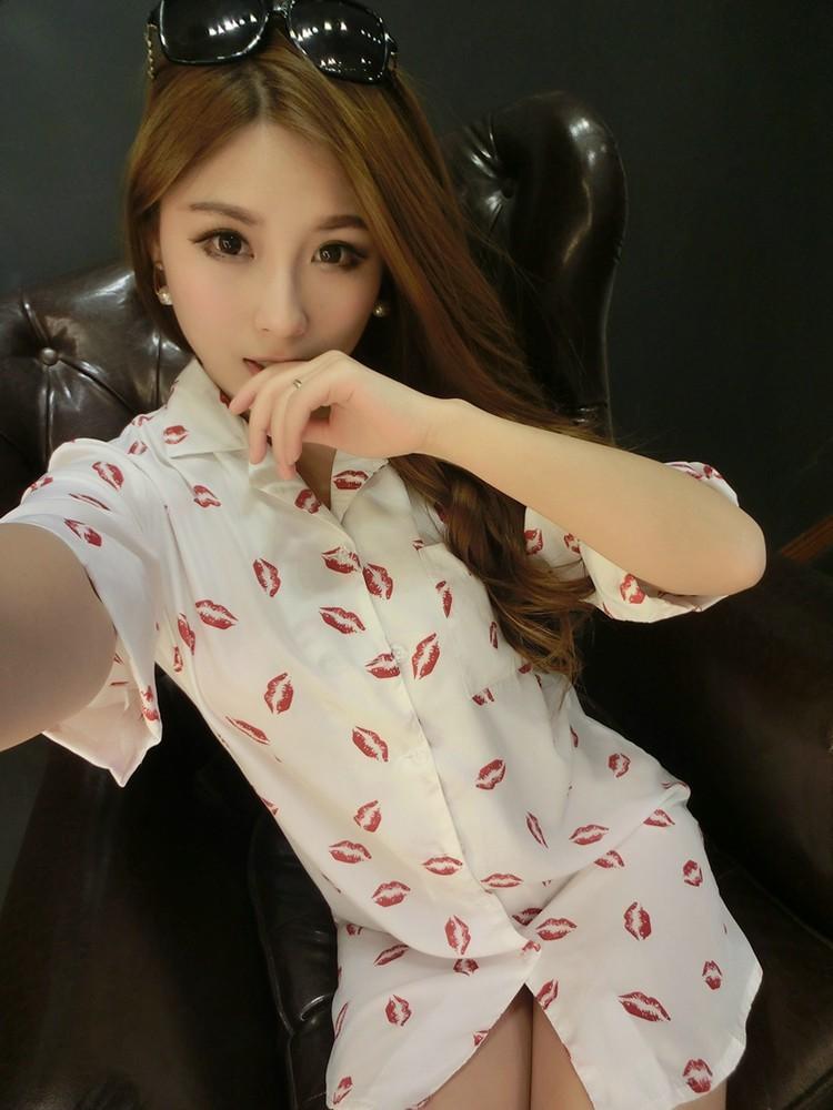 【性感红嘴唇衬衫款睡衣】-内衣-女士内衣/男士内衣