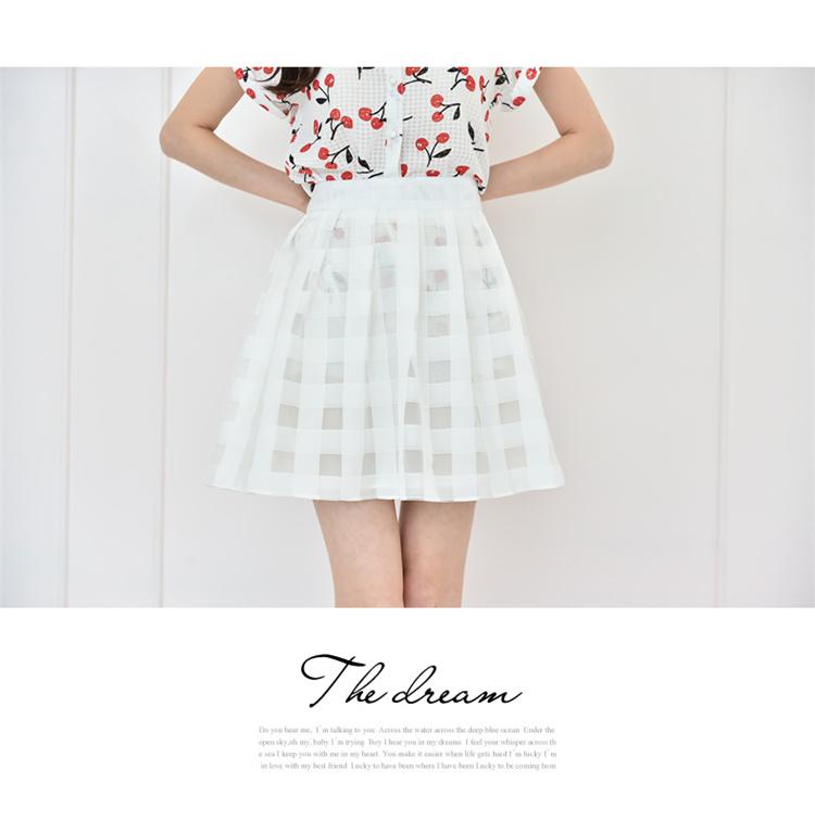 【【菠萝家】韩版小樱桃甜美衬衫】-衣服-衬衫
