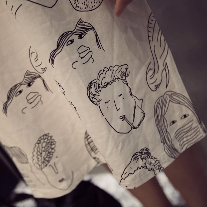 【谜儿家手绘涂鸦人头中长款t恤】-衣服-t恤_上装__鞋